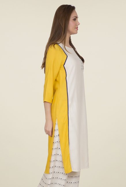 Desi Belle Off White & Yellow Solid Kurti