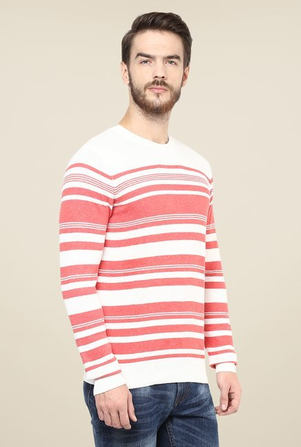 celio* Coral & White Striped Sweater