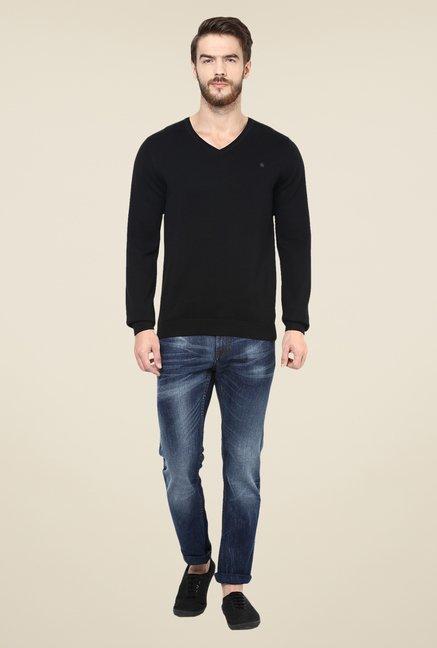 celio* Black Solid Sweater