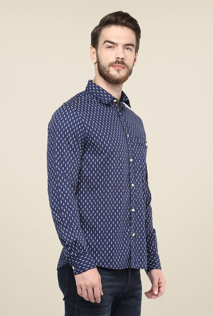 celio* Navy Printed Shirt