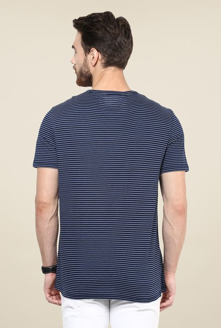 celio* Indigo Striped T Shirt