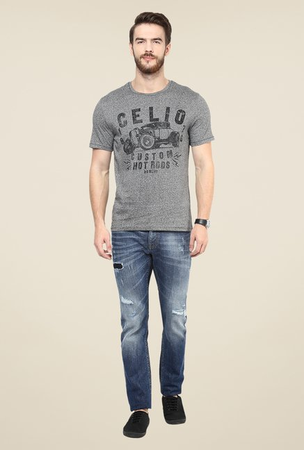 celio* Grey Printed T Shirt