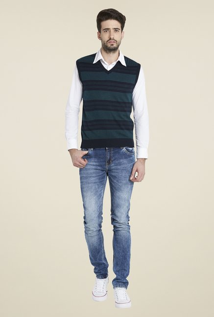 Globus Teal Striped Sweater