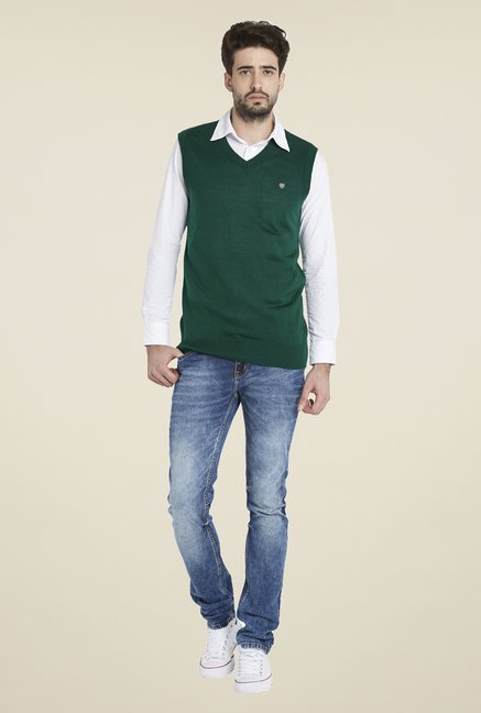 Globus Green Solid Sweater