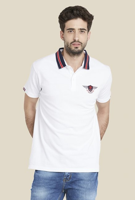Globus White Stylish Solid T Shirt