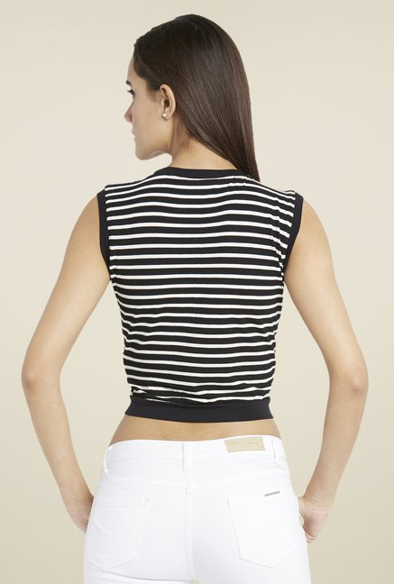 Globus Black Striped Sleeveless Top