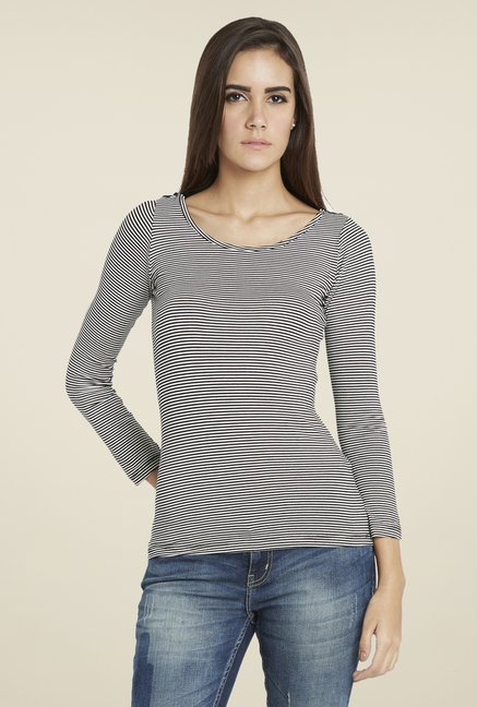 Globus Black Striped Full Sleeves Top