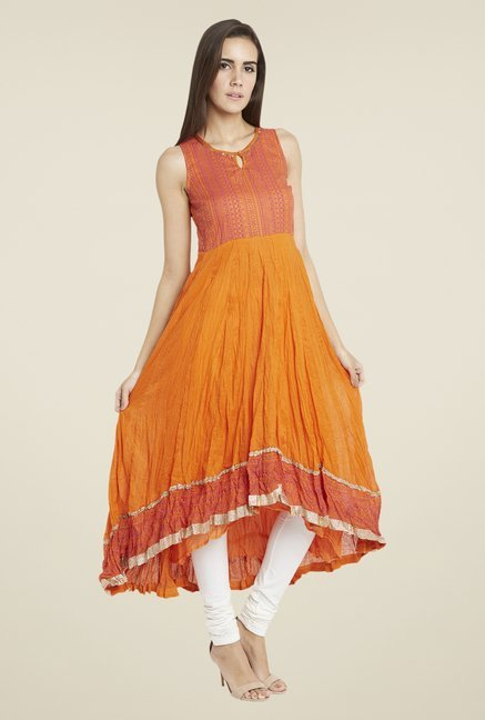 Globus Orange Crushed Printed Anarkali Kurta