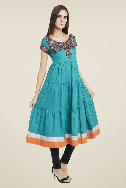 Globus Teal Embroidered Anarkali Kurta