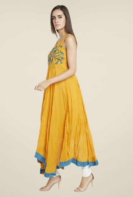 Globus Orange Crushed Embroidered Anarkali Kurta