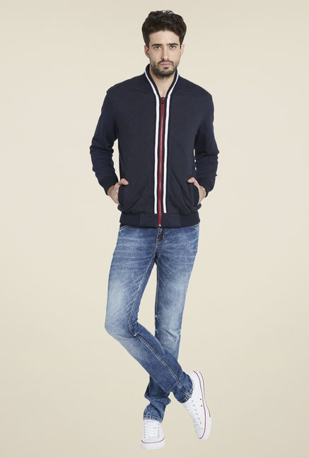 Globus Navy Blue Solid Jacket