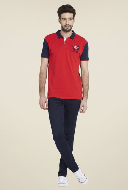 Globus Red Stylish Solid T Shirt