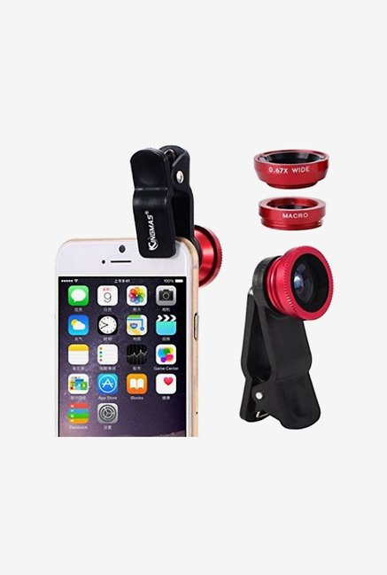 TLTSHOPS Universal 3-In-1 Lens Clip Camera Photo Kit (Red)