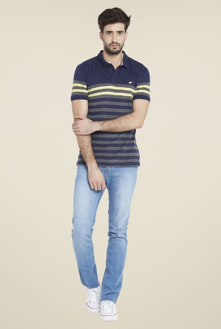 Globus Navy Stylish Striped T Shirt