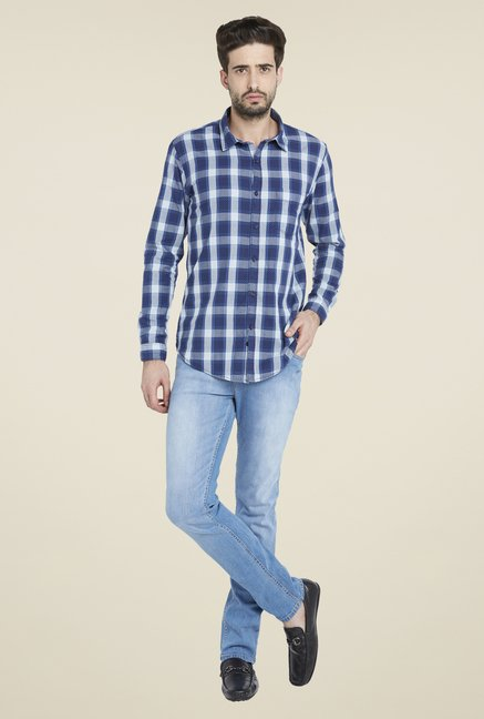 Globus Blue Stylish Checks Shirt