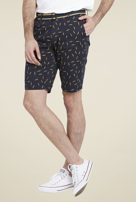 Globus Navy Knee Length Printed Shorts