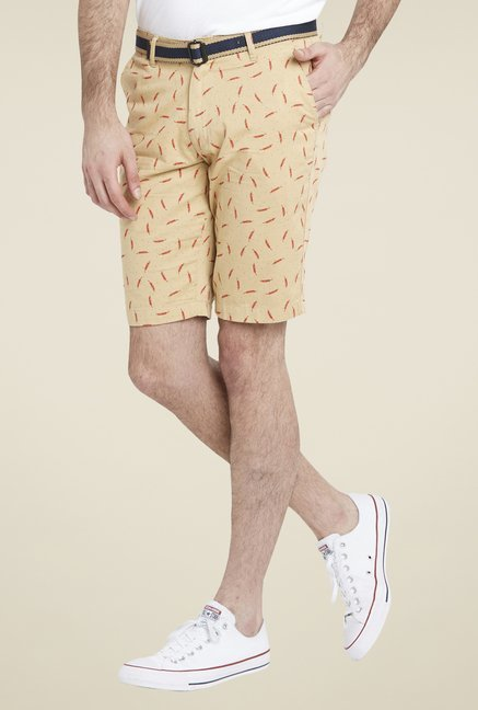 Globus Beige Smart Printed Shorts