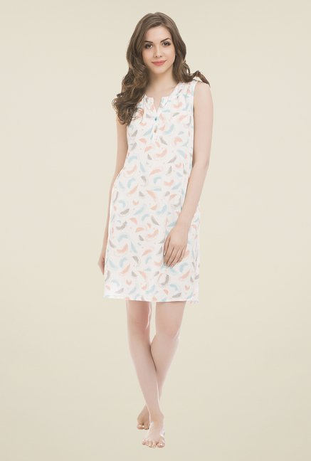 Clovia White Printed Nighty