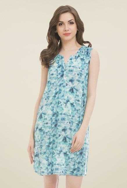 Clovia Blue Printed Nighty