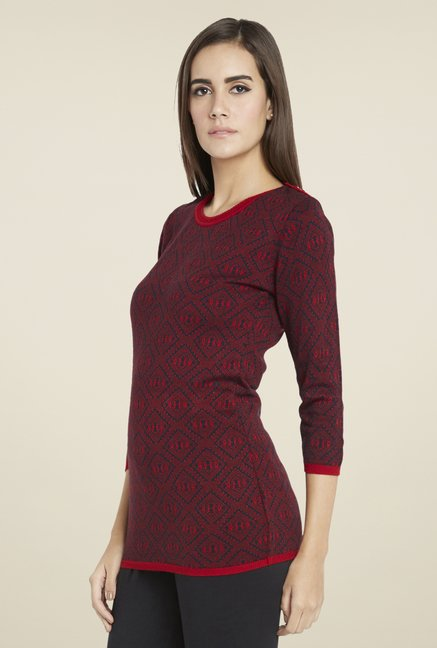 Globus Red Printed Chic Top
