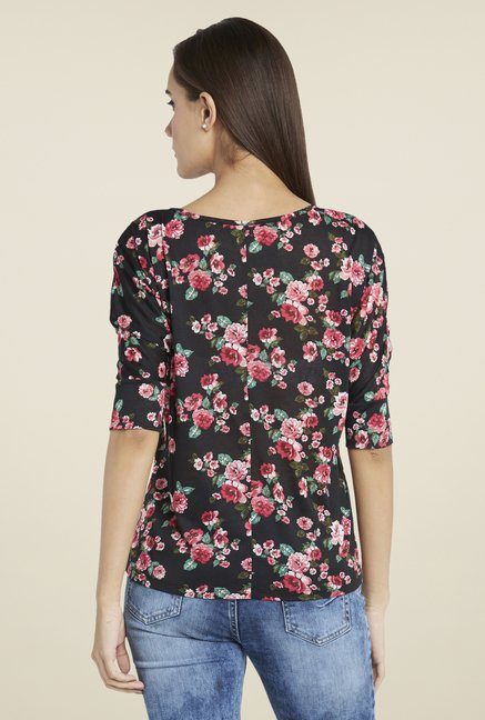 Globus Black Floral Print Top