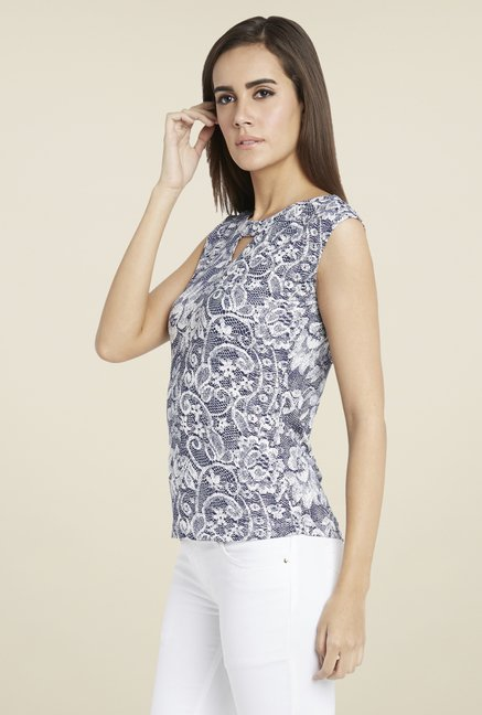 Globus Blue Floral Print Chic Top