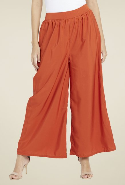 Globus Orange Solid Palazzos