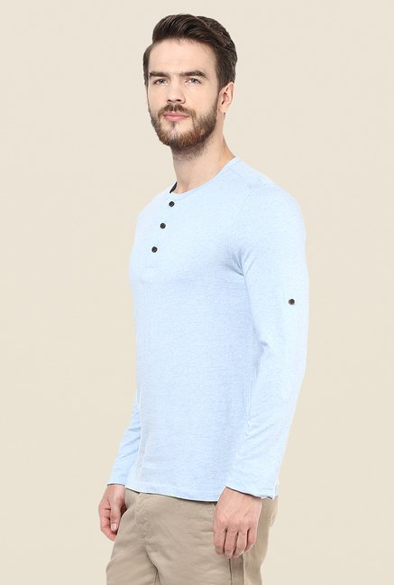 celio* Sky Blue Solid T Shirt