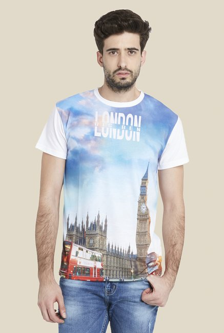 Globus Blue & White Modish Graphic Print T Shirt