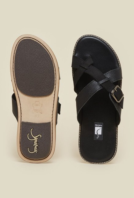 Signature by Metro Black Cross Strap Sandals