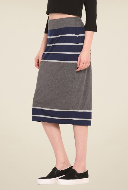Saiesta Grey & Navy Striped Skirt