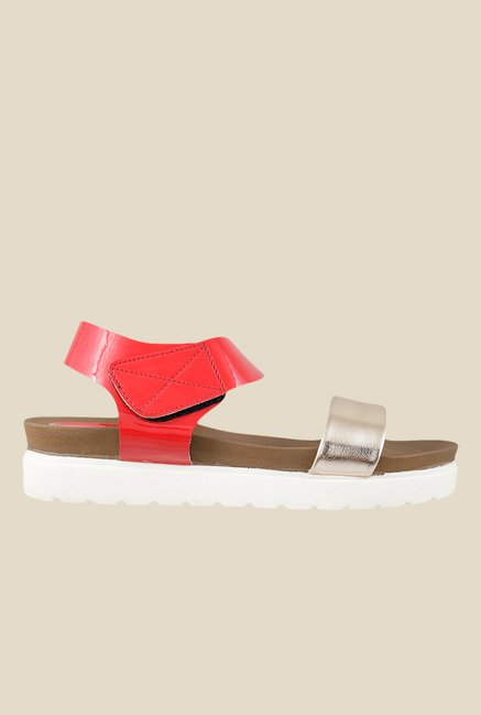 Mochi Red Ankle Strap Sandals