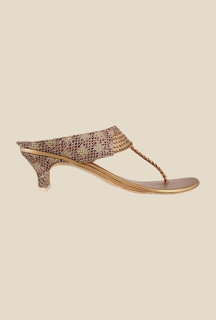 Mochi Antique Gold T-Strap Sandals