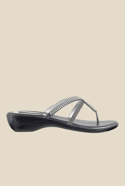 Mochi Gun Metal Wedge Heeled Thong Sandals