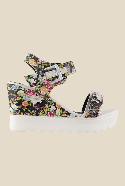 Mochi Black & White Ankle Strap Wedges