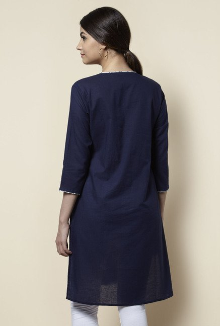 Zudio Navy Embroidered Kurta