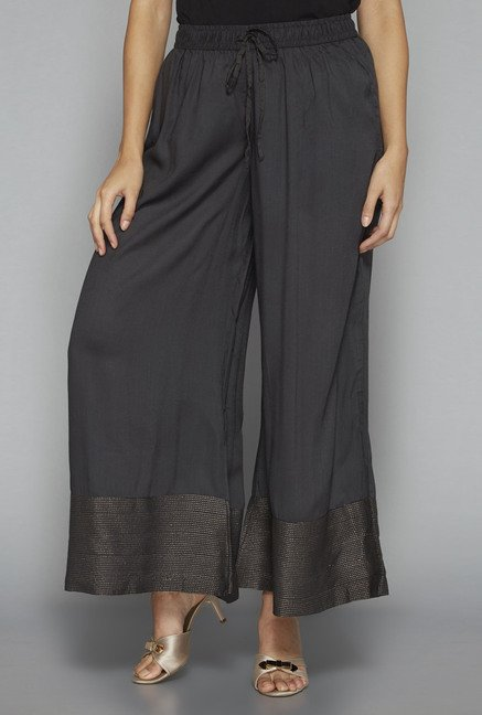 Zuba by Westside Dark Grey Embroidered Palazzo
