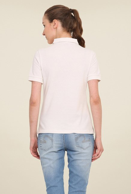 Saiesta White Solid T Shirt