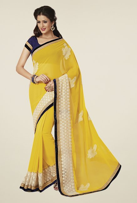 Ishin Yellow Faux Georgette & Chiffon Saree
