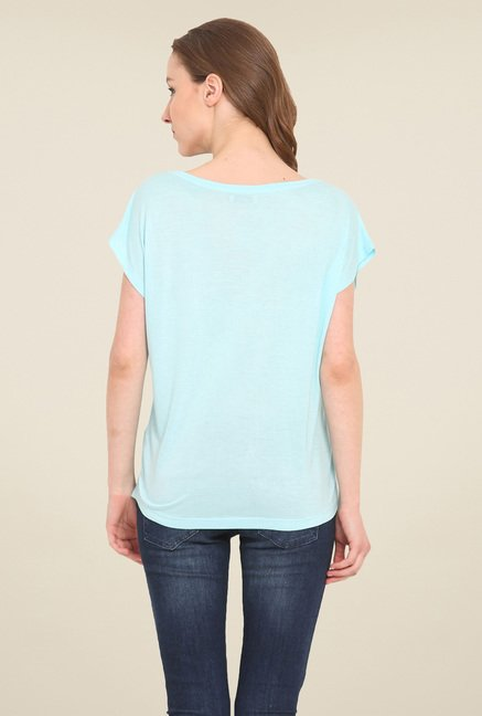 Saiesta Sky Blue Printed Top