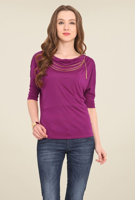 Saiesta Purple Solid Top