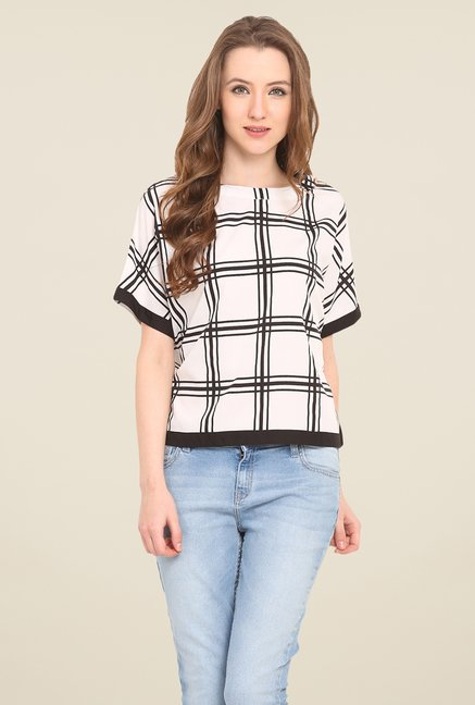 Saiesta White Checks Top
