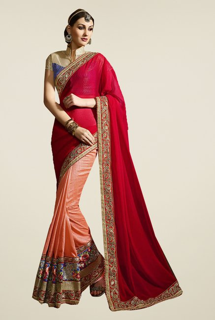 Ishin Peach & Red Faux Georgette Jari Embroidered Saree