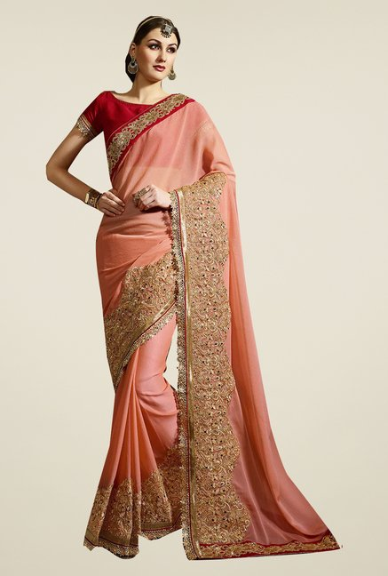 Ishin Peach Faux Georgette Embroidered Saree