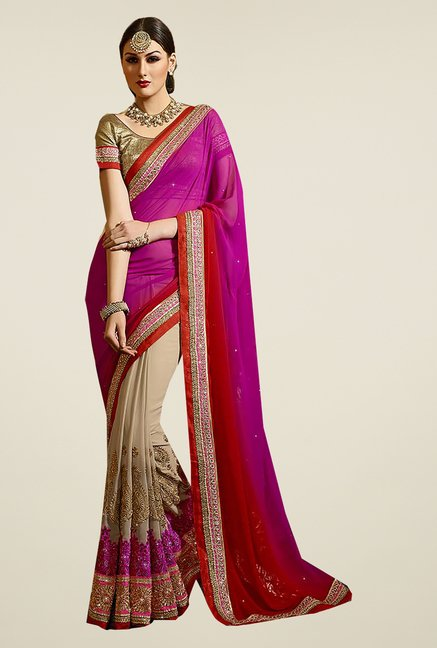 Ishin Beige & Pink Faux Georgette Embroidered Saree