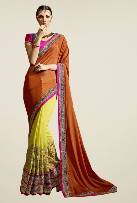 Ishin Yellow & Orange Faux Georgette & Chiffon Saree