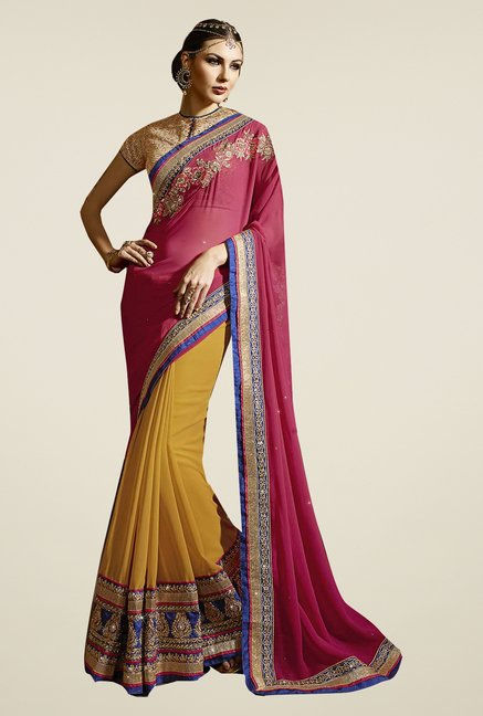 Ishin Yellow & Pink Faux Georgette Embroidered Saree