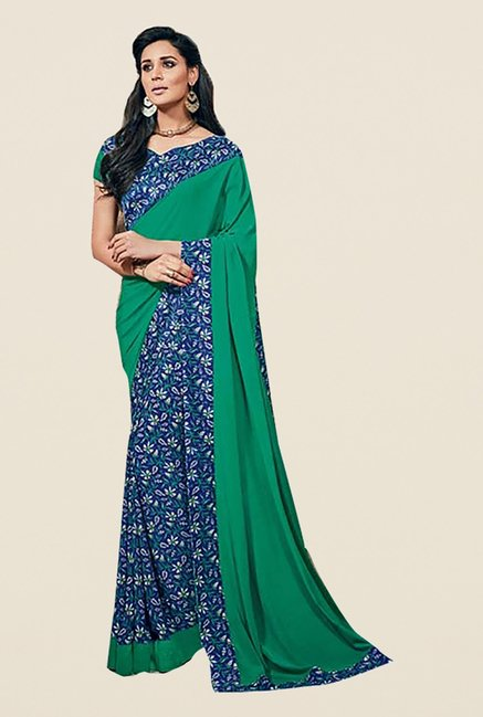 Ishin Blue & Green Faux Crepe Printed Saree