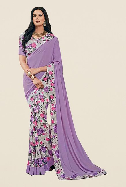 Ishin Purple Faux Crepe Printed Saree
