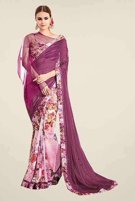 Ishin Purple Georgette & Chiffon Printed Saree